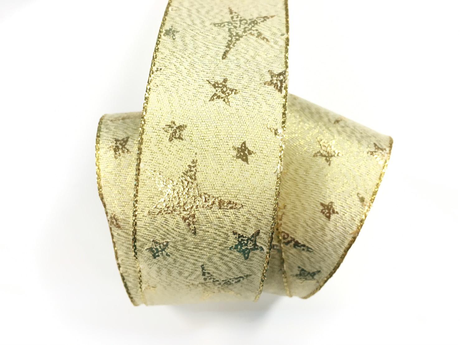 聖誕燙金銀星星+鐵絲緞帶 38mm 3碼裝 (2色)