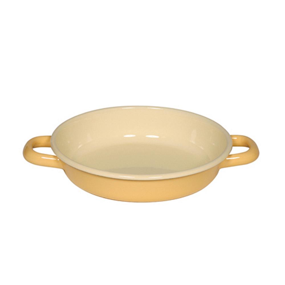 【RIESS】奧地利琺瑯雙耳煎鍋18cm(金黃色)