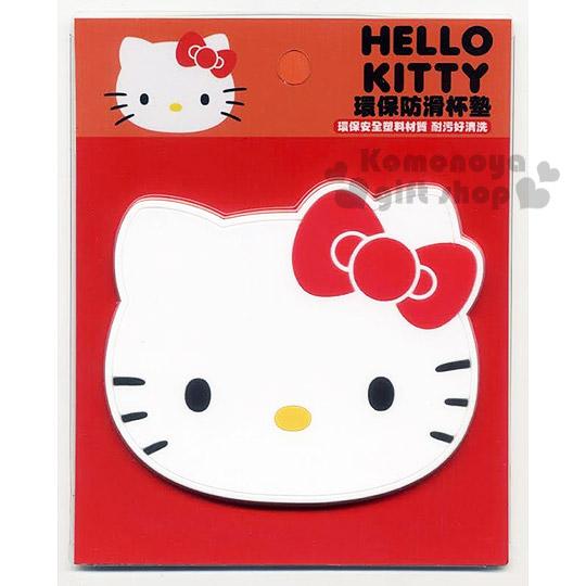 〔小禮堂〕Hello Kitty 造型矽膠杯墊《白.大臉.紅蝴蝶結》生活小物.具止滑效果