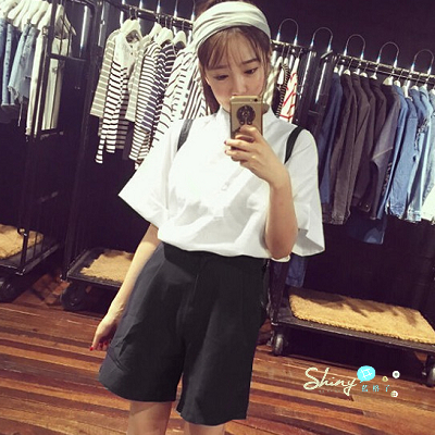 【V014】shiny藍格子-學院風.簡單純色圓領短袖襯衫 +鬆緊腰短褲套裝