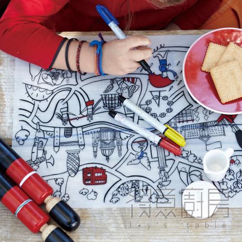 Modern Twist 兒童矽膠餐墊-城市系列(不含彩筆)