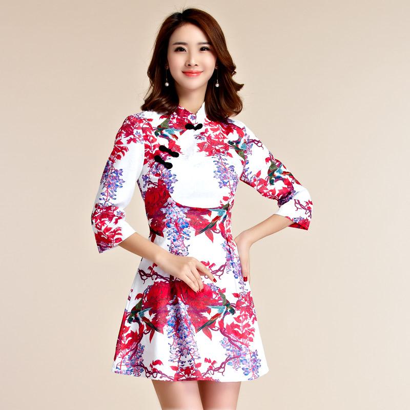 天使嫁衣【J2K9952】中大尺碼復古袖包扣中裙改良式旗袍短禮服˙預購訂製款