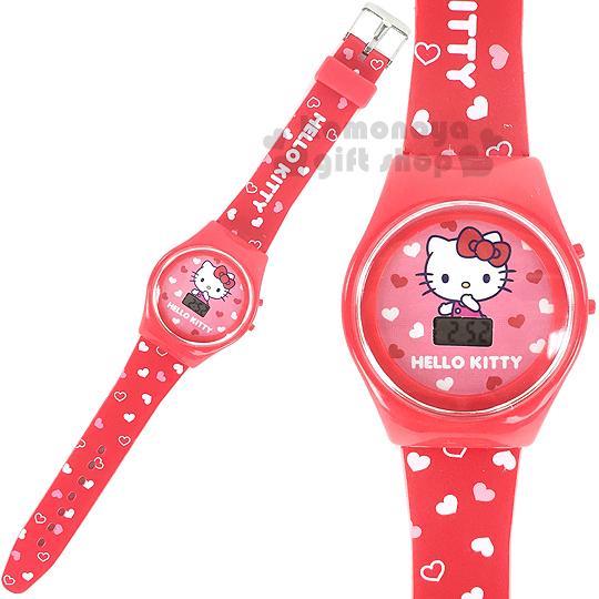 〔小禮堂〕Hello Kitty 兒童電子錶《紅.愛心滿版》塑膠外殼包裝