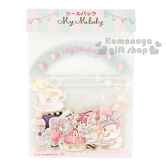 〔小禮堂〕美樂蒂 日製提袋造型貼紙組《粉藍.20款.40枚.草莓.站姿》可愛造型貼紙