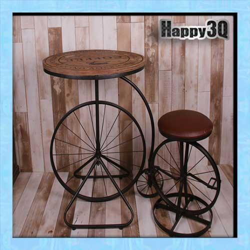 鄉村復古酒吧咖啡店美式餐廳實木鐵製創意車輪休閒圓桌子【AAA0964】