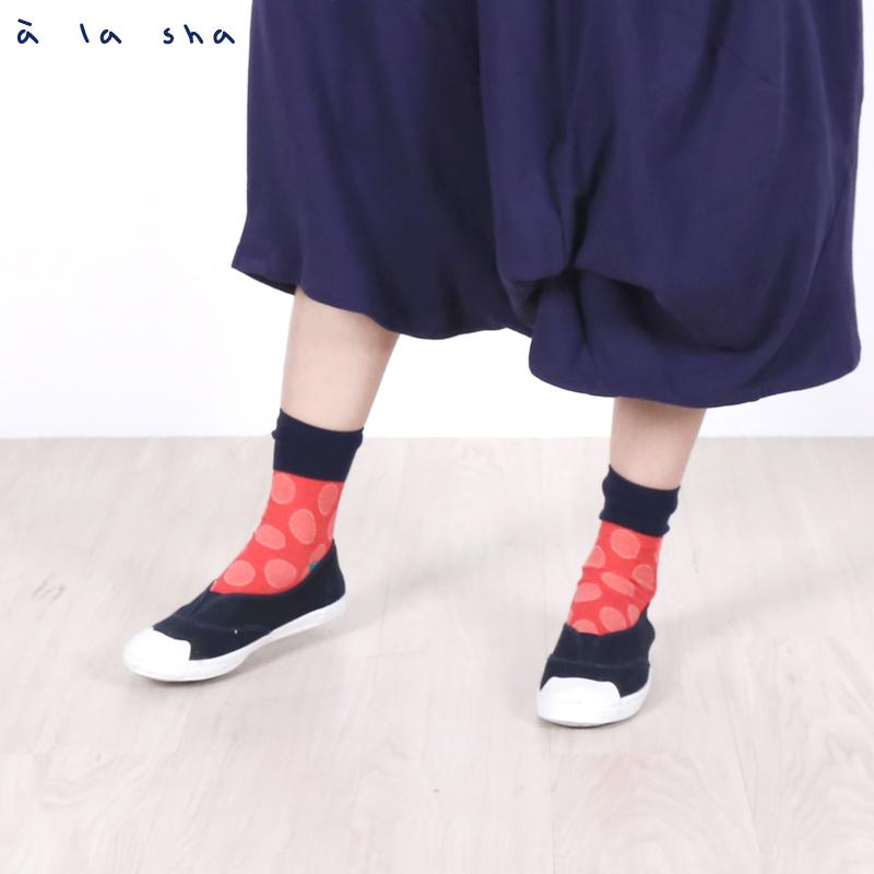 a la sha enco 點點緹花腳跟撞色襪