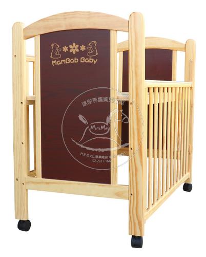 【迷你馬】夢貝比嬰兒床-繽紛世界-台規中床(PF-601原木色119X57cm)