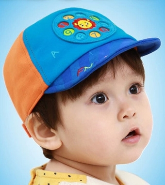 Funnimals◆萌版超Q可愛獅子電話轉盤撥號兒童鴨舌帽-淺藍色