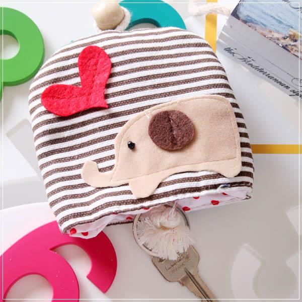 魔法Baby~日本風手工拼布鑰匙&零錢包(小象)~孩童&大人用品~時尚設計~f0054