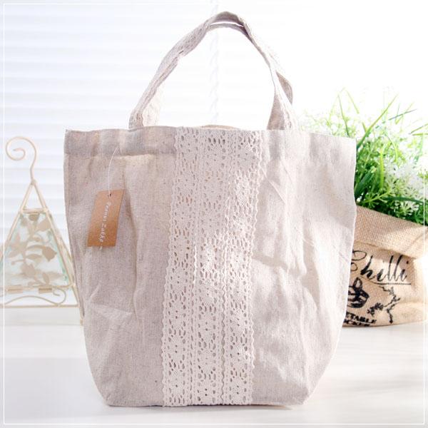 魔法Baby~日本風亞麻布蕾絲手提袋~孩童&大人用品~時尚設計~f0080