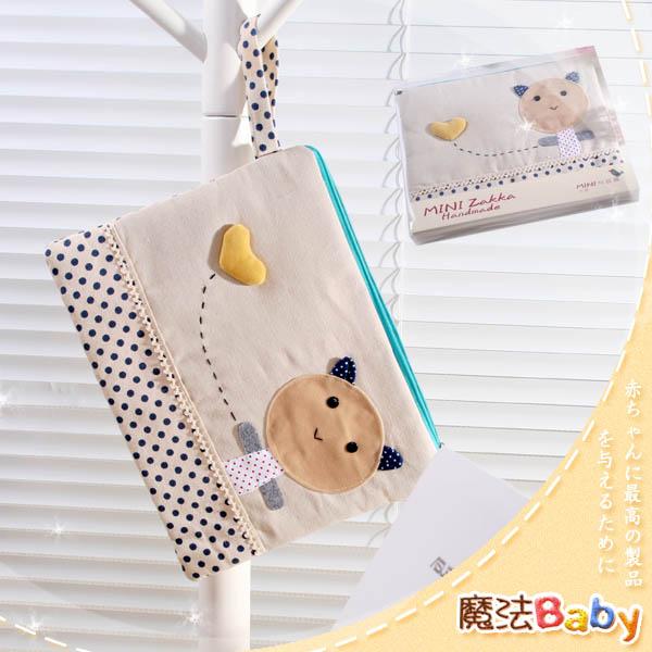 魔法Baby~裝小筆電、ipad、平版電腦貓咪拼布包(卡其/藍圓點)~生活用品~時尚設計~f0085