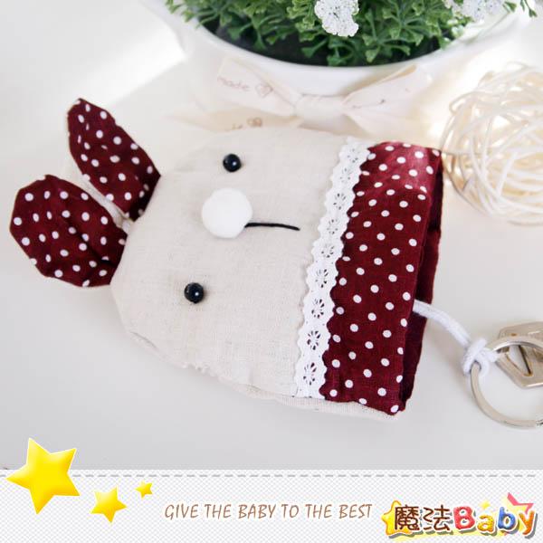 魔法Baby~手工拼布鑰匙&零錢包(暗紅兔)~生活雜貨~時尚設計~f0091