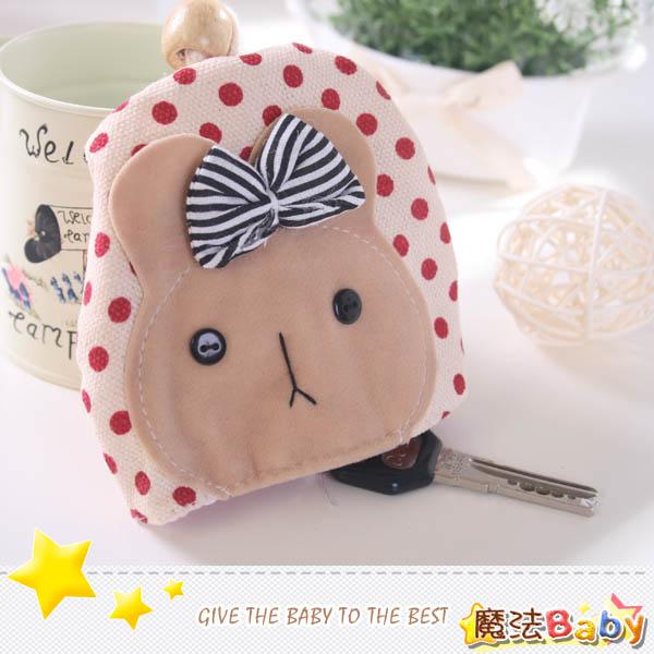 魔法Baby~手工拼布鑰匙&零錢包(紅點兔)~生活雜貨~時尚設計~f0092