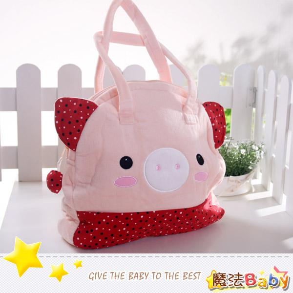 魔法Baby~日本風絨布拼接手提包(大粉紅豬)~雜貨小品~時尚設計~f0108
