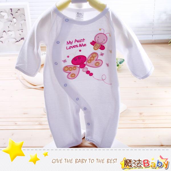 魔法Baby~純棉雙面布長袖連身衣(蝴蝶)~包屁衣/連身衣~女童裝~時尚設計童裝~k02358