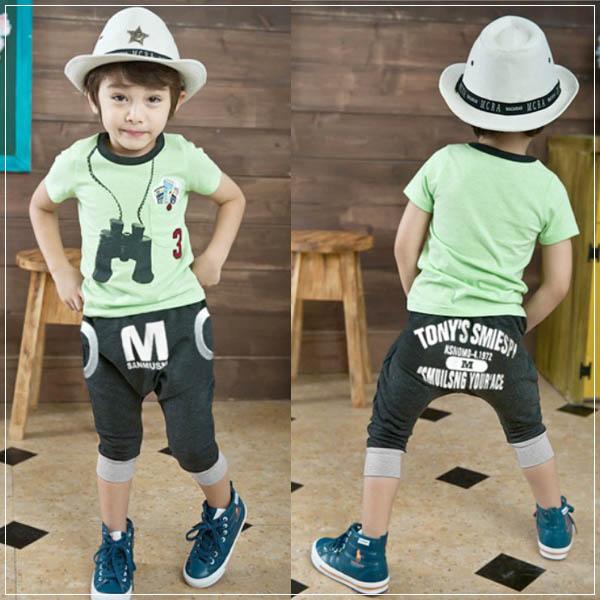 魔法Baby ~韓版潮流探險家套裝(短袖T+哈倫褲)~童裝~男童裝~時尚設計童裝~k22476