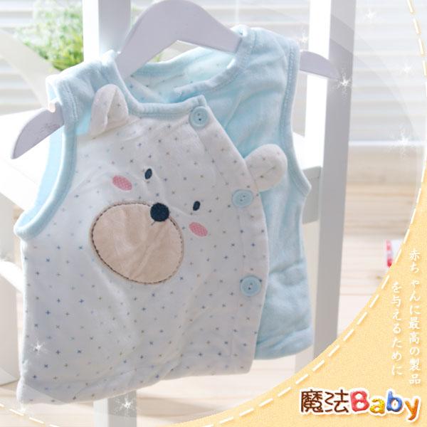 魔法Baby ~百貨專櫃正品絨毛布內鋪棉厚款背心外套(水藍)~嬰兒~男童裝~時尚設計童裝~k23824