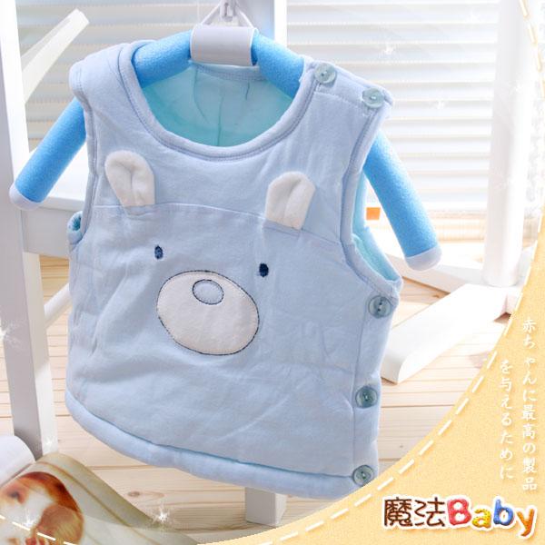 魔法Baby ~百貨專櫃正品邊開扣鋪棉背心外套(水藍)~嬰兒~男童裝~時尚設計童裝~k23862