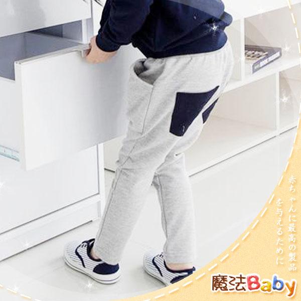 魔法Baby ~韓版潮流彈性鬆緊袋鼠袋長褲(灰)~童裝~男女童裝~時尚設計童裝~k24258