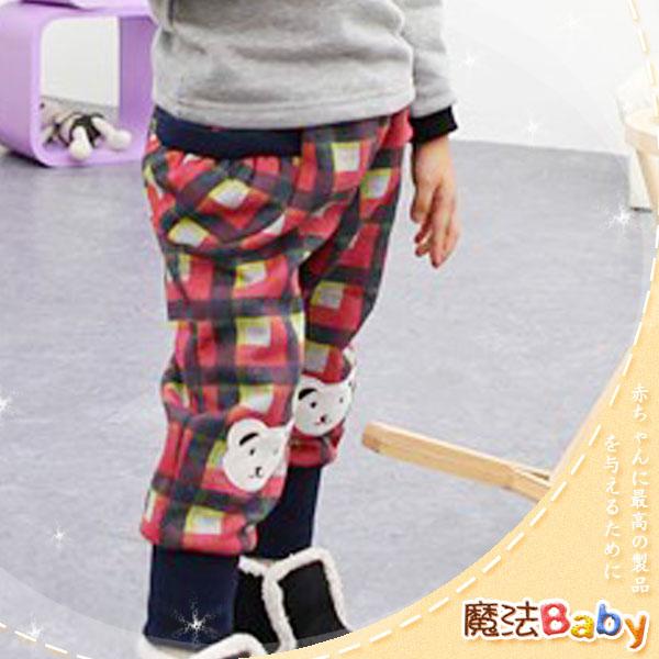 魔法Baby ~韓版彈性鬆緊格紋小白熊長褲(紅灰格紋)~童裝~男女童裝~時尚設計童裝~k24296