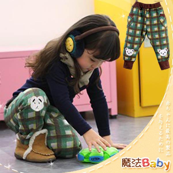 魔法Baby ~韓版彈性鬆緊格紋小白熊長褲(綠咖格紋)~童裝~男女童裝~時尚設計童裝~k24302