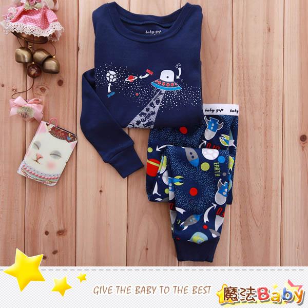魔法Baby ~外星太空船款純綿長袖居家套裝~套裝~男童裝~時尚設計童裝~k25286