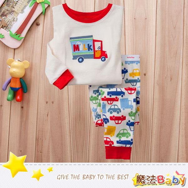 魔法Baby~純綿長袖居家套裝(牛奶車)~套裝~男女童裝~時尚設計童裝~k26368
