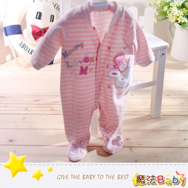魔法Baby~法國設計細絲絨包腳長袖連身衣/連身衣~女童裝~時尚設計童裝~k26481