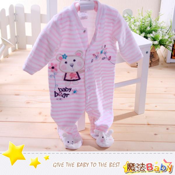魔法Baby~法國設計細絲絨包腳長袖連身衣/連身衣~女童裝~時尚設計童裝~k26535