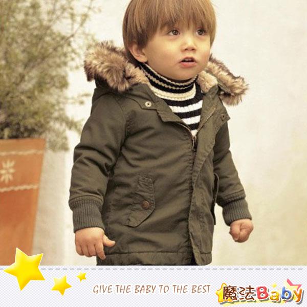 魔法Baby~厚款毛皮帽緣可拆式保暖內羊羔絨連帽外套~童裝~男童裝~時尚設計童裝~k26726