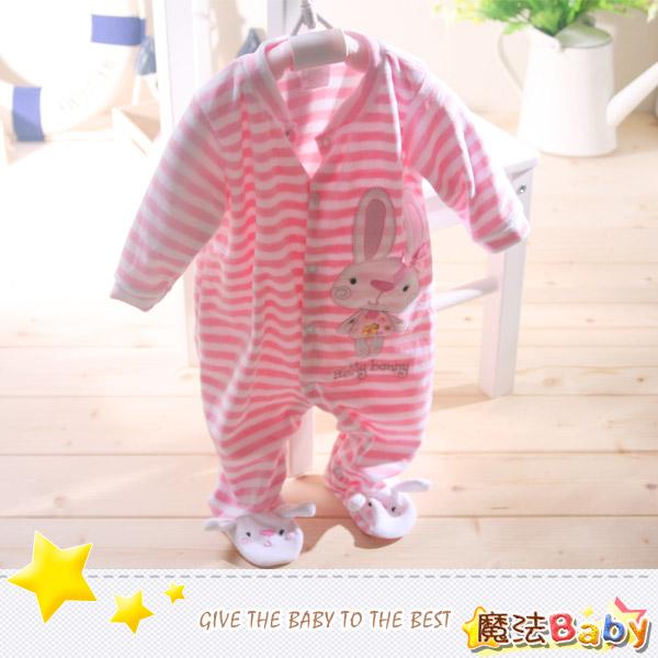 魔法Baby~法國設計細絲絨包腳長袖連身衣/包屁衣~女童裝~時尚設計童裝~k26795