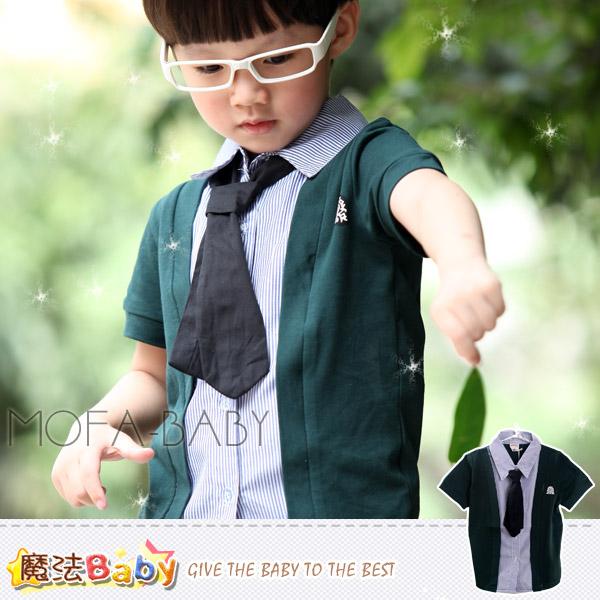 魔法Baby~學院風可拆領帶假兩件徽章襯衫/上衣/T恤~DODOMO品牌系列~男童裝~男女童裝~k26894