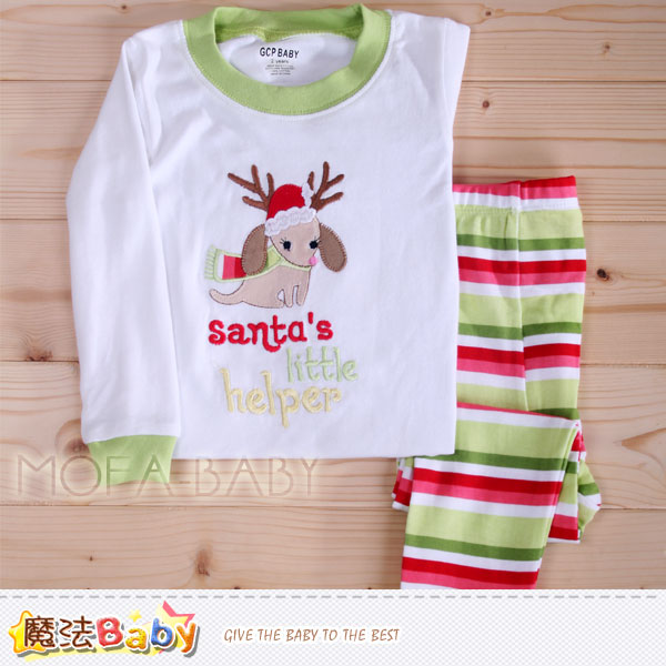 【魔法Baby】兒童純棉聖誕繽紛休閒居家套裝~女童裝~k29345