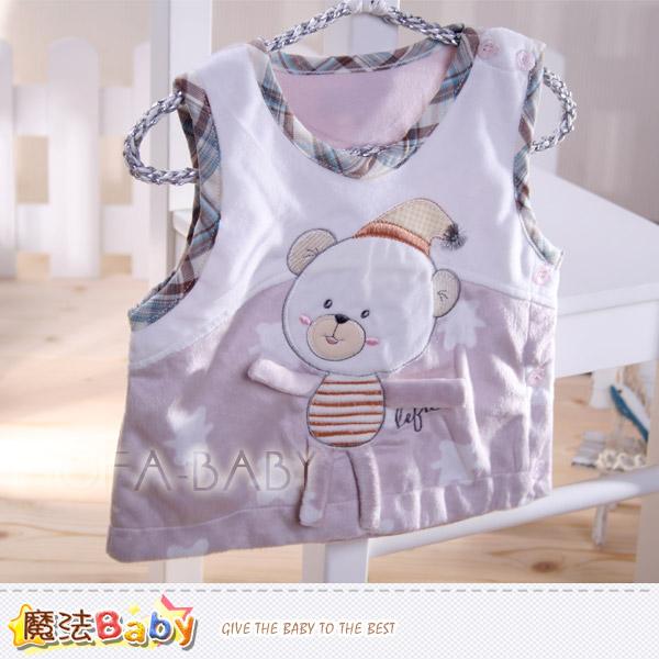 【魔法Baby】百貨專櫃正品LE18品牌~睡帽小熊細雪絨背心外套~男女童裝~k29543