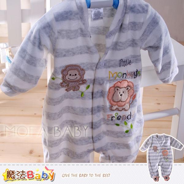 【魔法Baby】法國設計獅子與猴子細絲絨包腳連身衣/包屁衣~男童裝~k29710