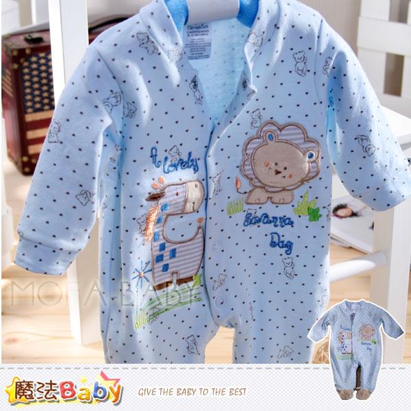 魔法Baby~法國設計獅子與長頸鹿雙面布包腳連身衣/包屁衣~男童裝~k30013