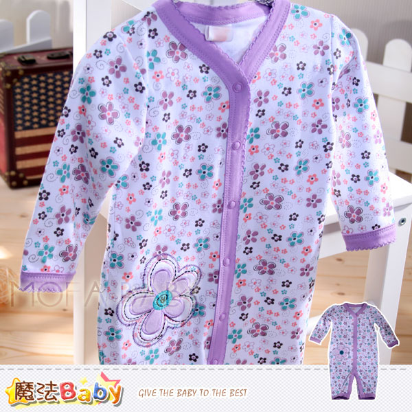 魔法Baby~美國設計繽紛花朵女寶寶長袖連身衣/包屁衣~女童裝~k30075