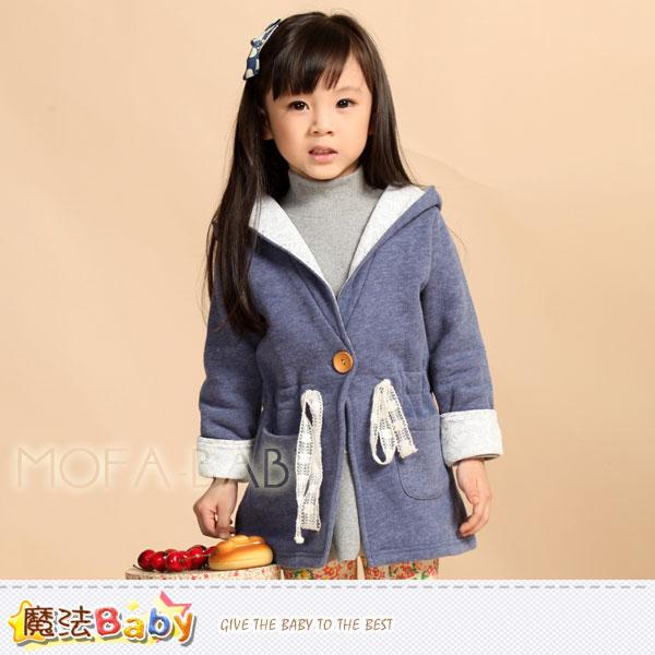 【魔法Baby】俏麗甜美波波公主優雅連帽刷毛長外套~女童裝~k32697