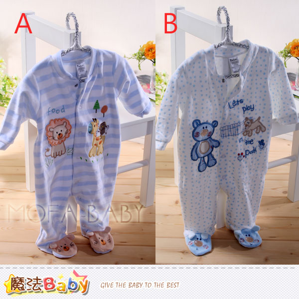 包腳連身衣~法國設計細絲絨連身衣~嬰兒服~魔法Baby~k33106