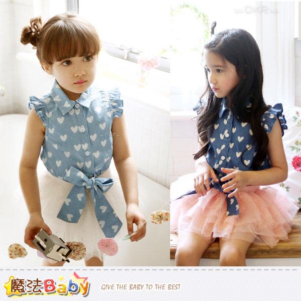 女童襯衫~無袖牛仔上衣~女童裝~魔法Baby~k35025