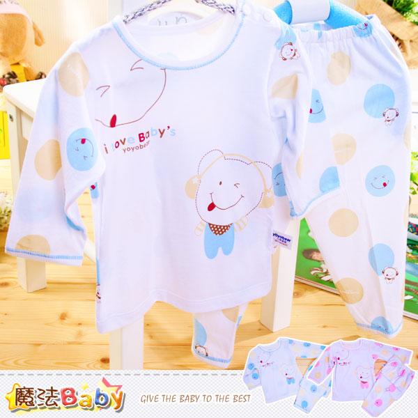 嬰幼兒居家套裝 百貨專櫃正品薄長袖舒柔套裝 睡衣(藍.粉) 魔法Baby~k35711
