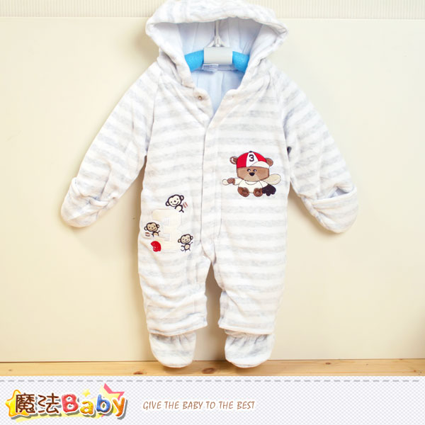 加厚鋪棉極暖絲絨連帽腳套嬰兒連身衣 魔法Baby~k37722