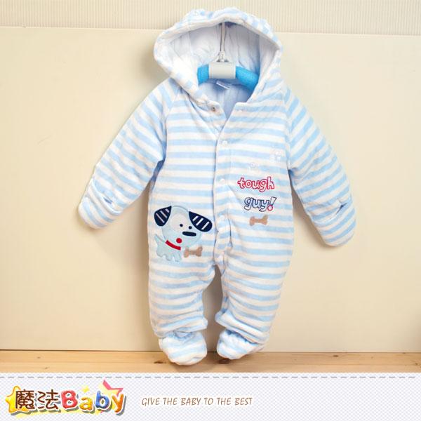 加厚鋪棉極暖絲絨連帽腳套嬰兒連身衣 魔法Baby~k37739