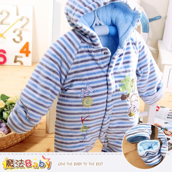 加厚鋪棉極暖絲絨連帽腳套嬰兒連身衣 魔法Baby~k38200