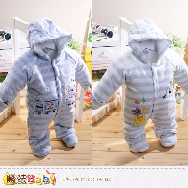 加厚鋪棉極暖絲絨連帽腳套嬰兒連身衣(A.B) 魔法Baby~k38651