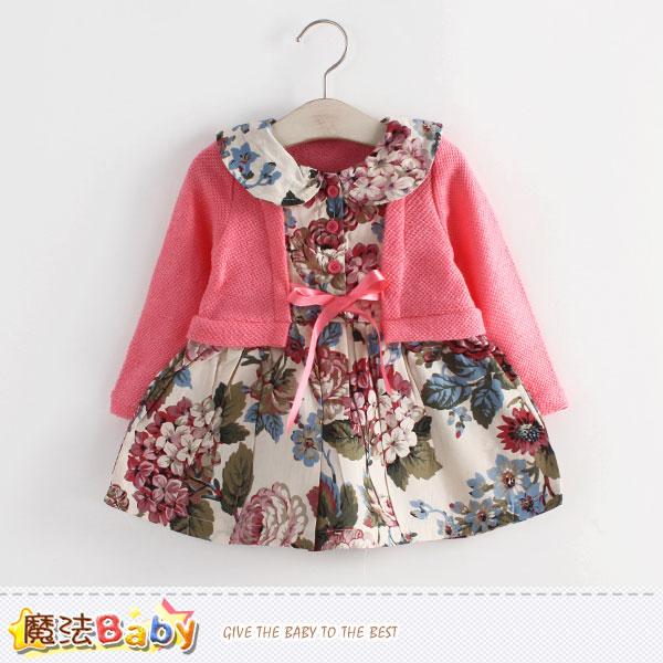 女童洋裝 假兩件薄長袖連身裙 魔法Baby~k39276