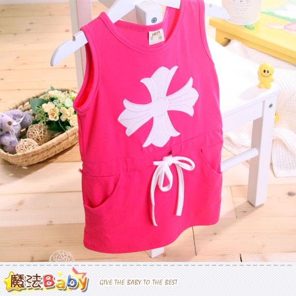 女童裝 窄版無袖合身收腰連身裙 魔法Baby~k40395