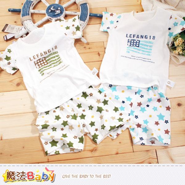 專櫃款純棉輕薄兒童夏季套裝(藍.綠) 魔法Baby~k40418