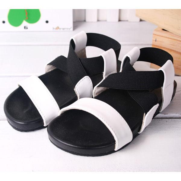 魔法Baby ~KUKI 酷奇時尚別緻露趾涼鞋~女童鞋~s2842~時尚設計童鞋(白)