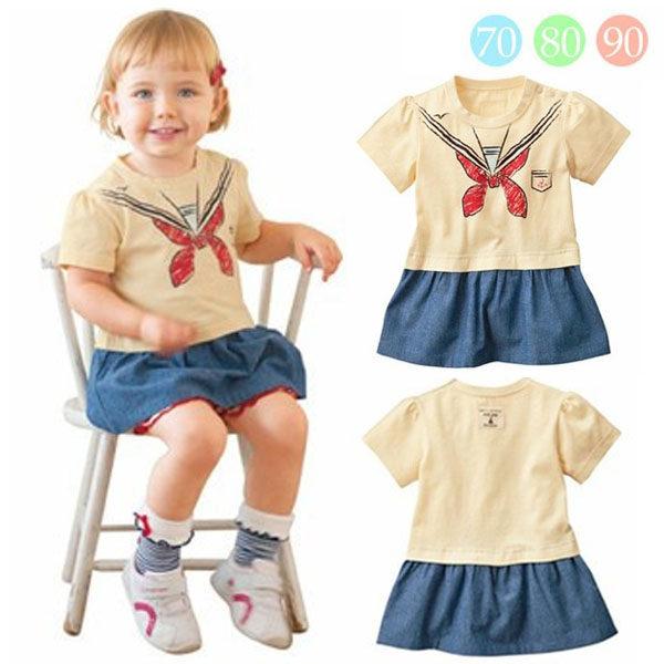 魔法Baby ~海洋風肩開扣連身裙(米黃)~童裝~女童裝~時尚設計童裝~k20915